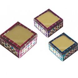 cajita mosaicos con espejo en la tapa 7x7 cm 11991