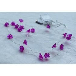 faroles microled en guirnalda alhambre L17 20 flores violeta (USB o 3 pilas AAA)