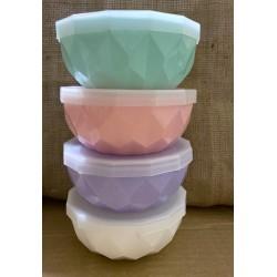 bowl plástico chico 11 cm. con tapa transparente vs. colores