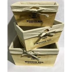 caja de madera con funda de tela x 3 unidades ELG18601