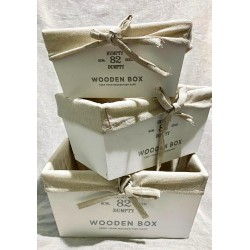 caja de madera con funda de tela  x 3 ELG18432