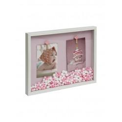 marco con ganchitos madera WDC43246 foto 10x15 rosa/celeste