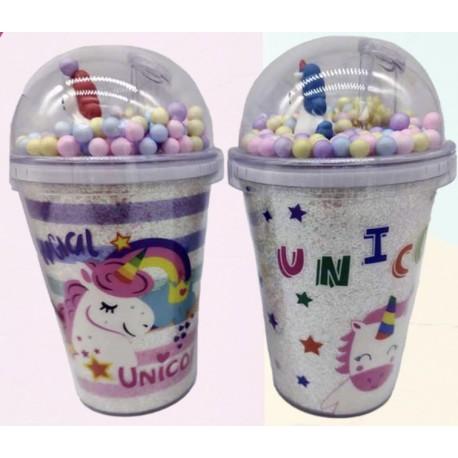 vaso plástico con tapa y sorbete unicornio 2107012