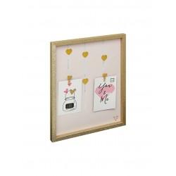 marco con broches WDC6634  con fondo rosa con corazones para 2 fotos de 10x15