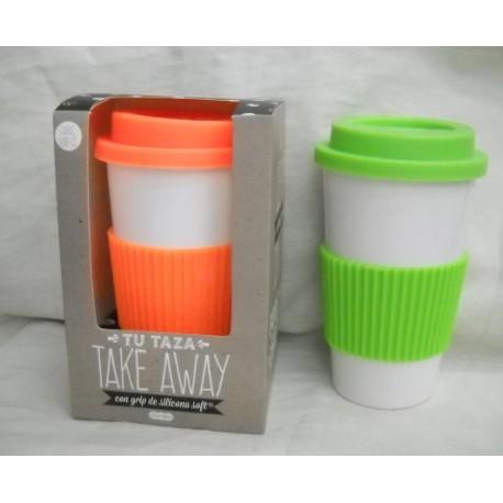 vaso alto cerámico con tapa y soporte de silicona t1t